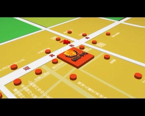 三维地图简单明了的表现出桐城中央周边的便利设施