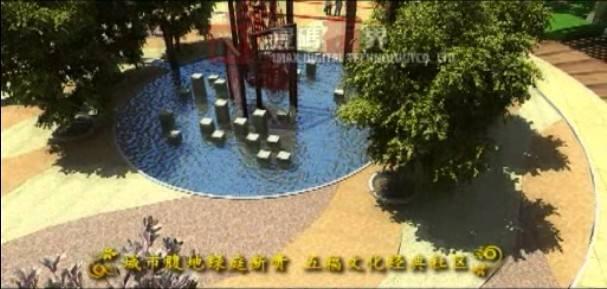 三维动画展示宁静优美的小区花园