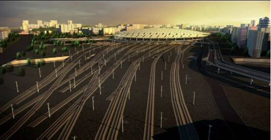 动画演示北京南站四通八达的道路环境