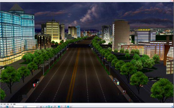 虚拟现实系统中的夜色下的库尔勒