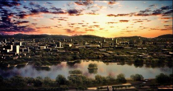 三维动画展示泉城黄昏美景